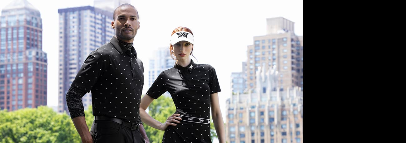 Man and Woman in City Wearing PXG Apparel's 2021 Fall Winter Collection   PXG