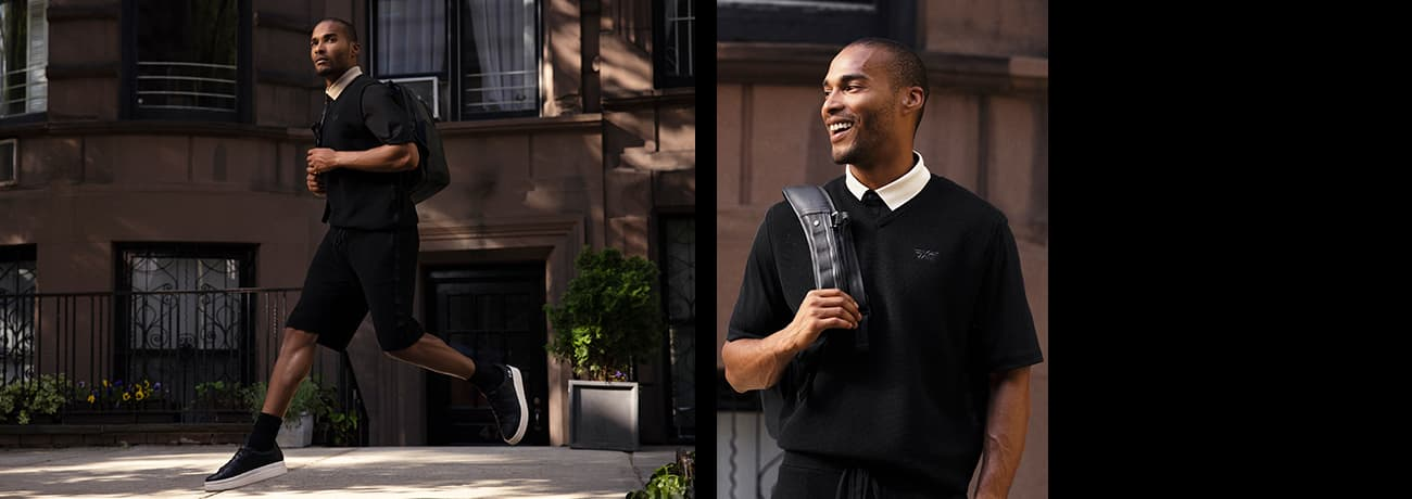 Man Jumping Outside in PXG Texture Contrast Collar Polo & Off Duty Vest & Shorts   PXG
