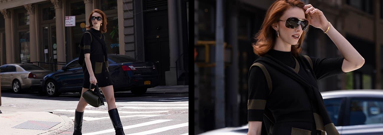 Women Crossing the Street in Women's Two-Tone Mock Neck Sweater, Vest & Cardigan   PXG