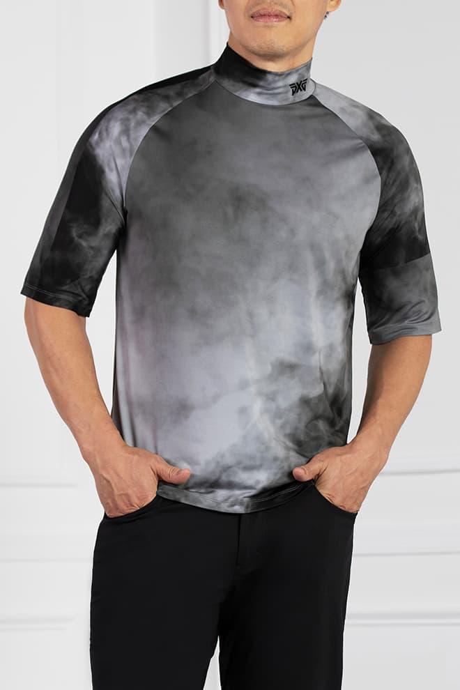 Smoking Hot Print Short Sleeve Mock Neck Image 1
