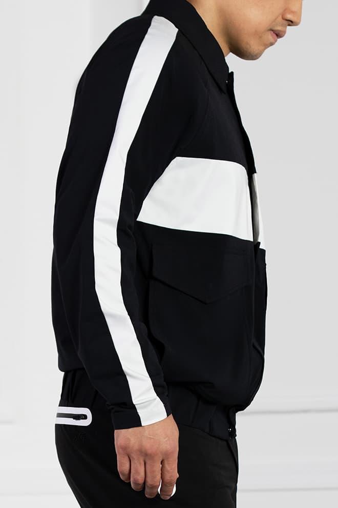 White Stripe Bomber Jacket Image 3