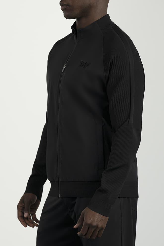 Full-Zip Hybrid Knit Logo Jacket Image 3