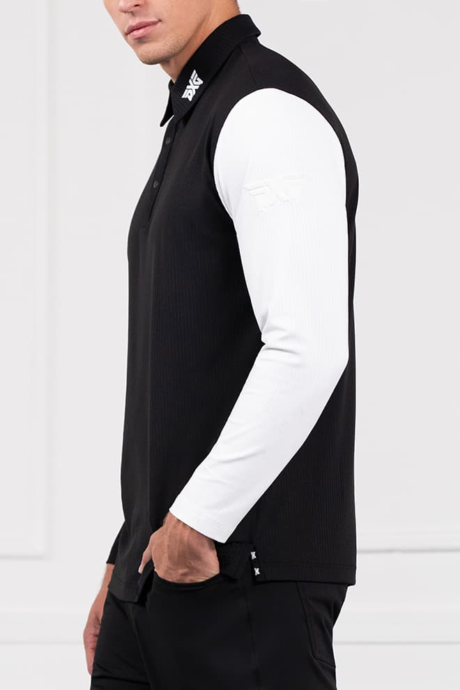 Long Sleeve Block Sleeve Polo Image 3