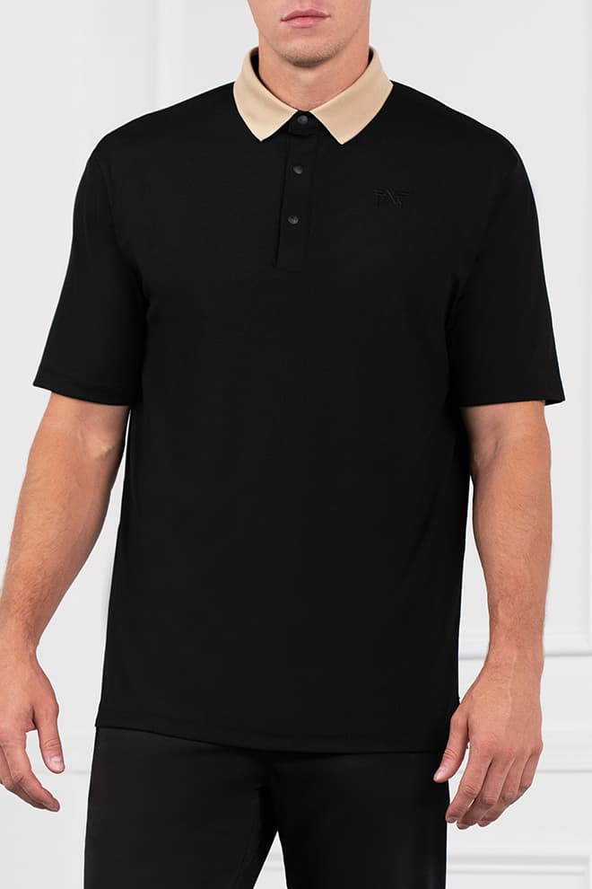 Textured Contrast Collar Polo Image 1