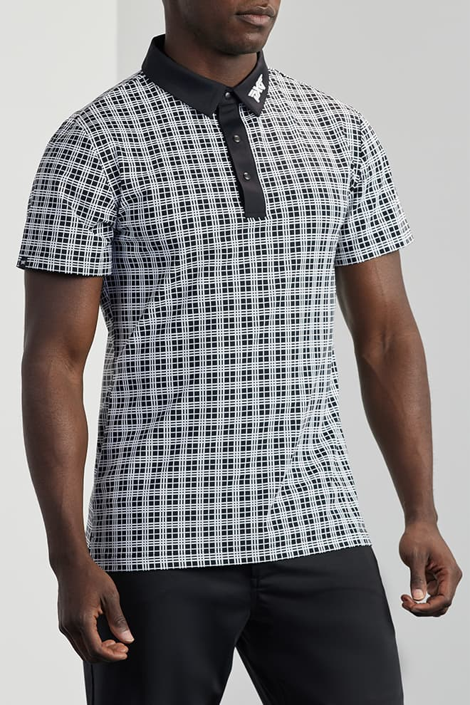 Athletic Fit Performance Plaid Polo Image 1