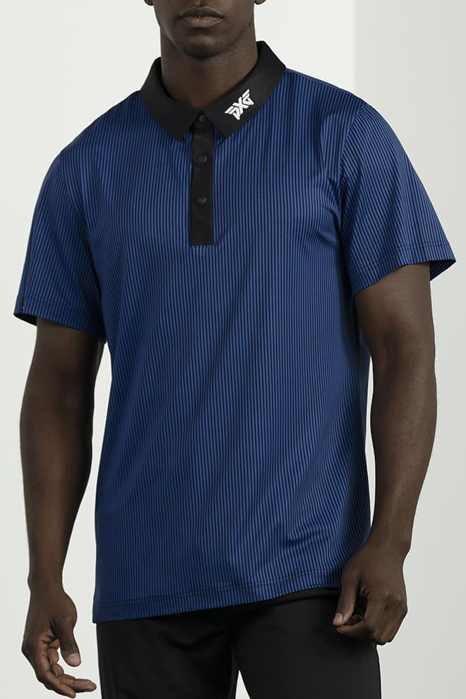 Athletic Fit Pinstripe Contrast Polo Image 1