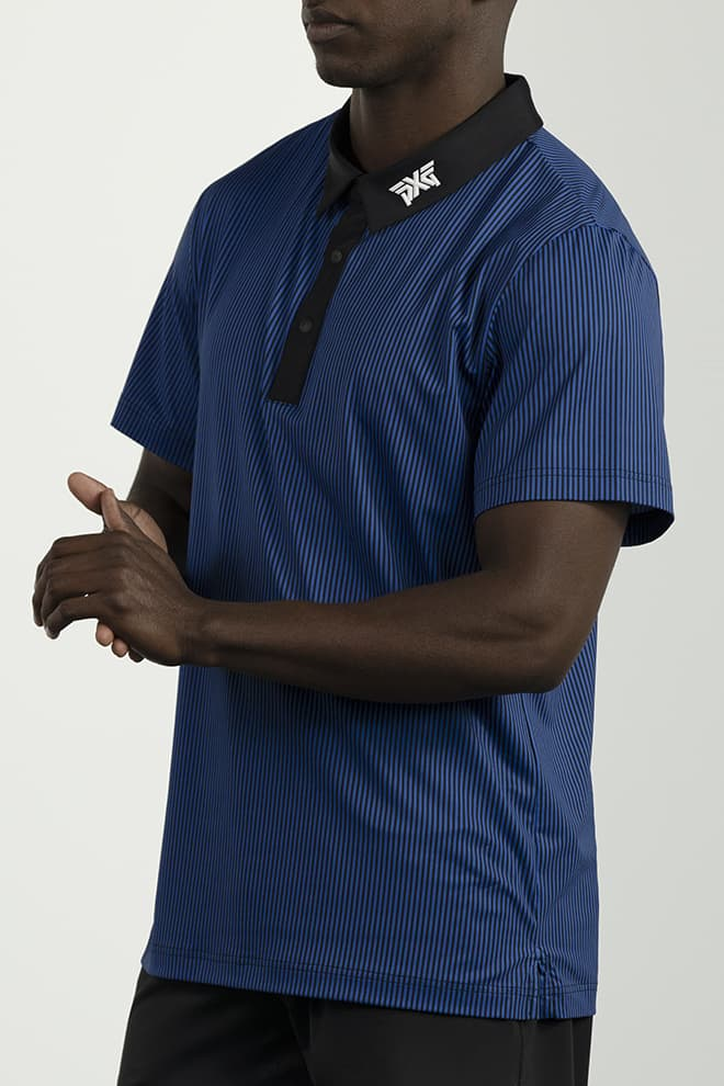 Athletic Fit Pinstripe Contrast Polo Image 2