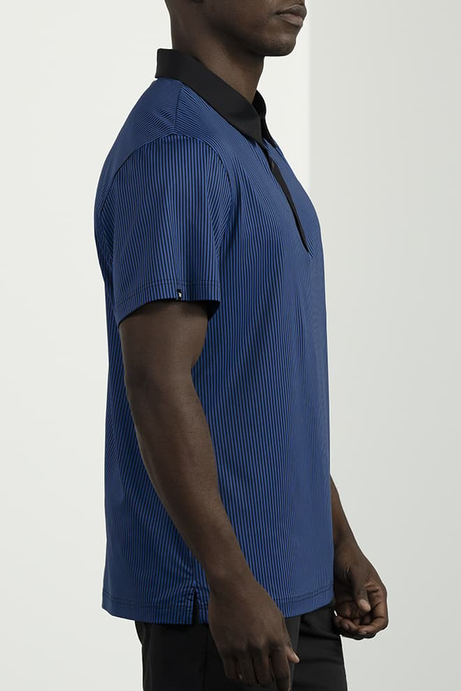Athletic Fit Pinstripe Contrast Polo Image 3