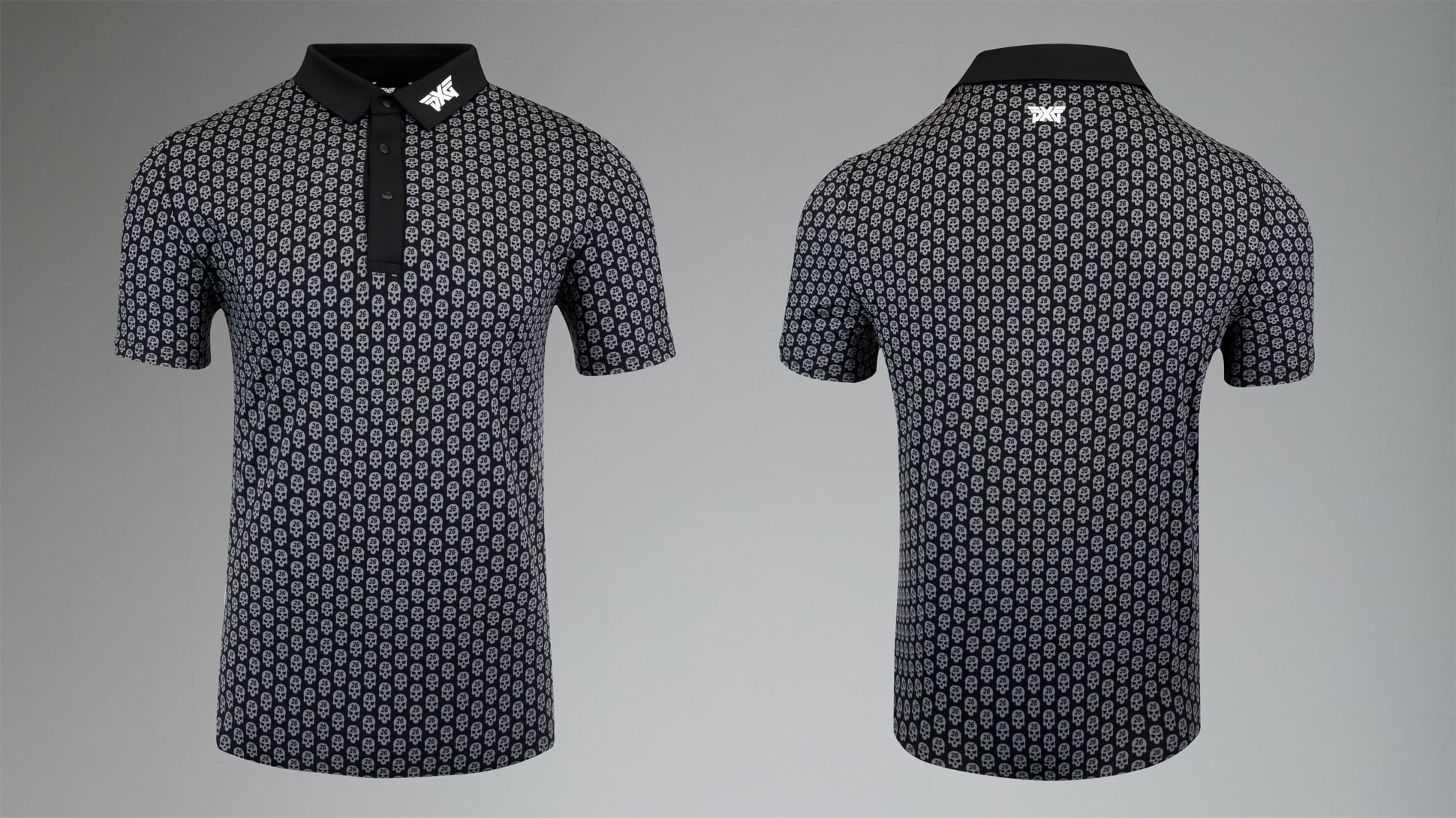 Athletic Fit Darkness Skull Polo Image 1