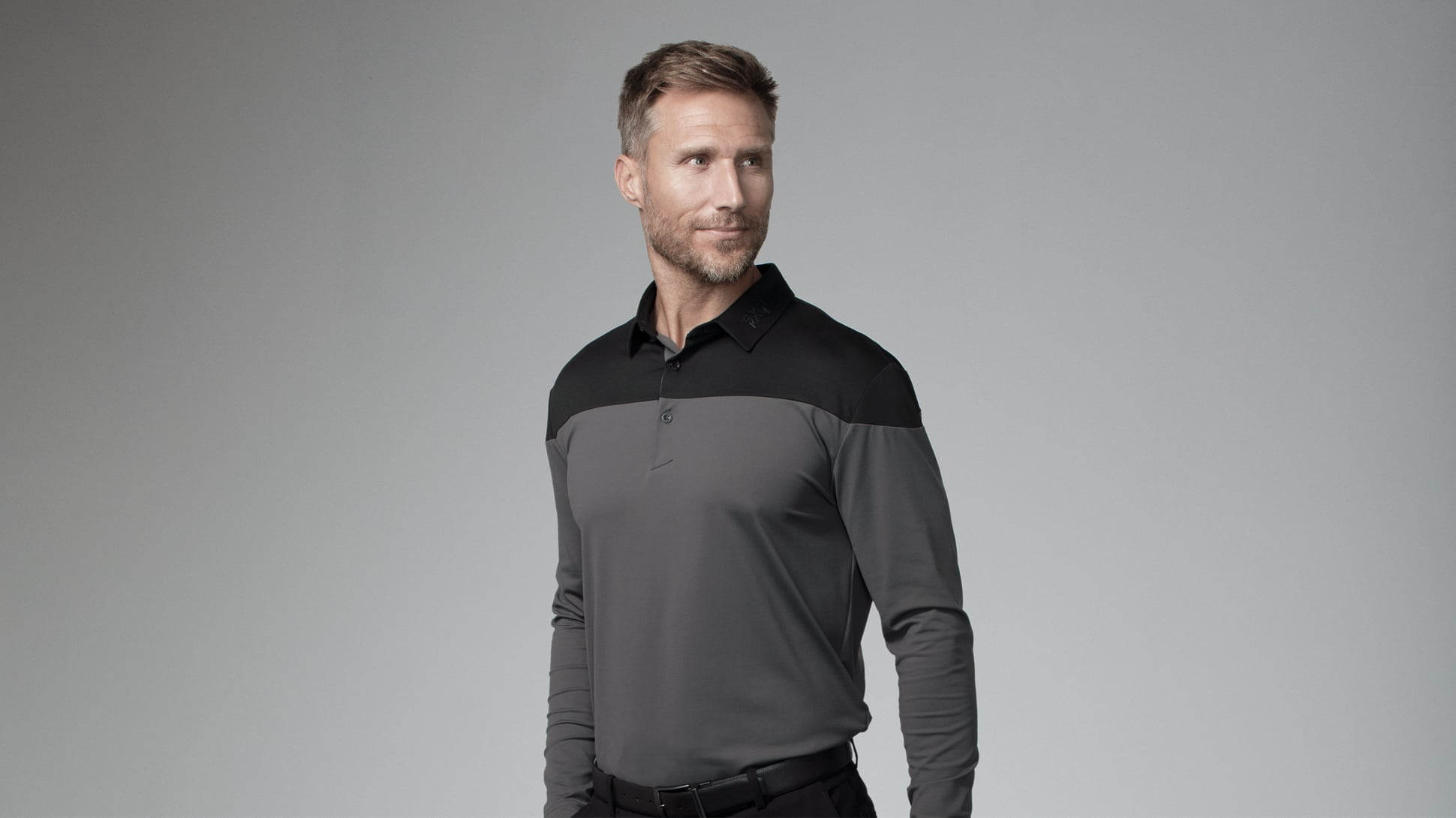 Long Sleeve Color Block Polo Image 1