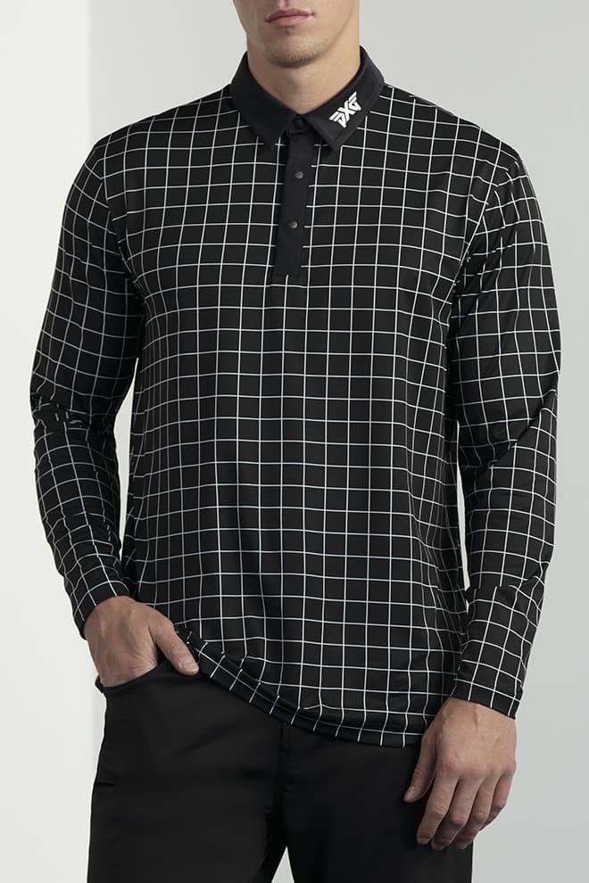 Long-Sleeve Checkered Polo Image 1