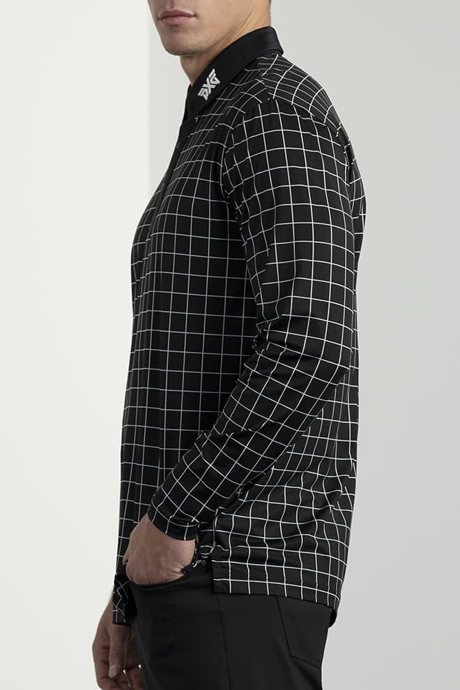 Long-Sleeve Checkered Polo Image 3