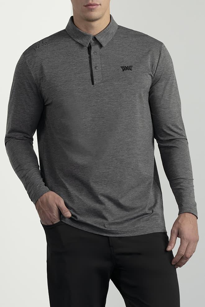 Long-Sleeve Collar Tab Polo Image 1