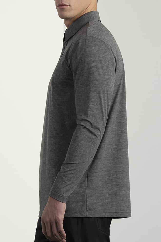 Long-Sleeve Collar Tab Polo Image 4