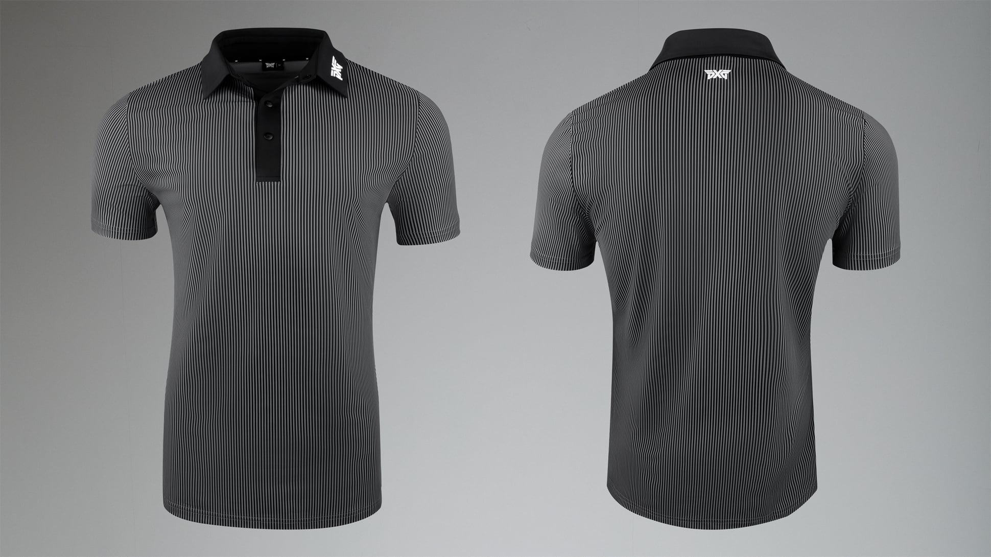 Athletic Fit Performance Pinstripe Polo Image 1