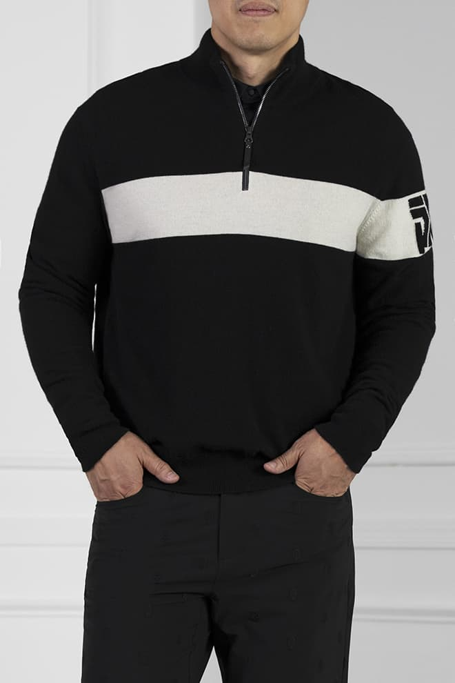 White Stripe 1/4-Zip Sweater Image 1