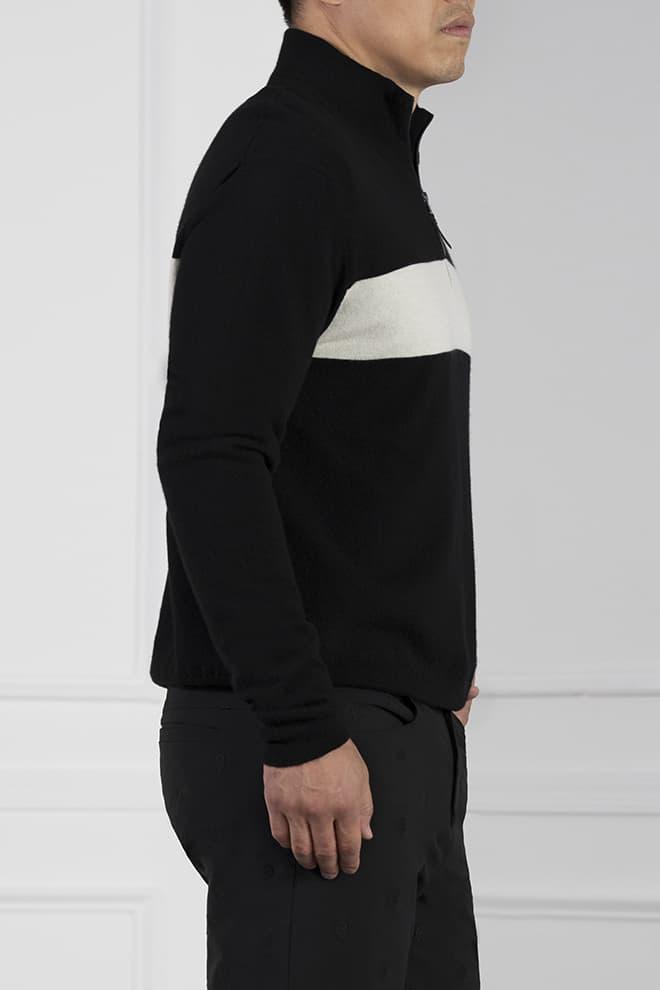 White Stripe 1/4-Zip Sweater Image 3