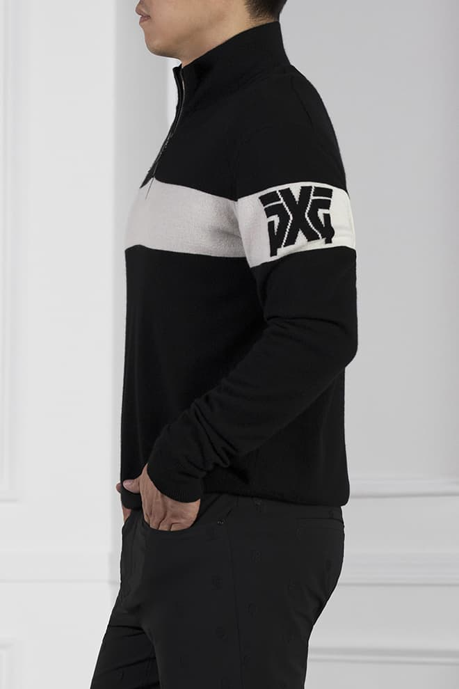 White Stripe 1/4-Zip Sweater Image 2
