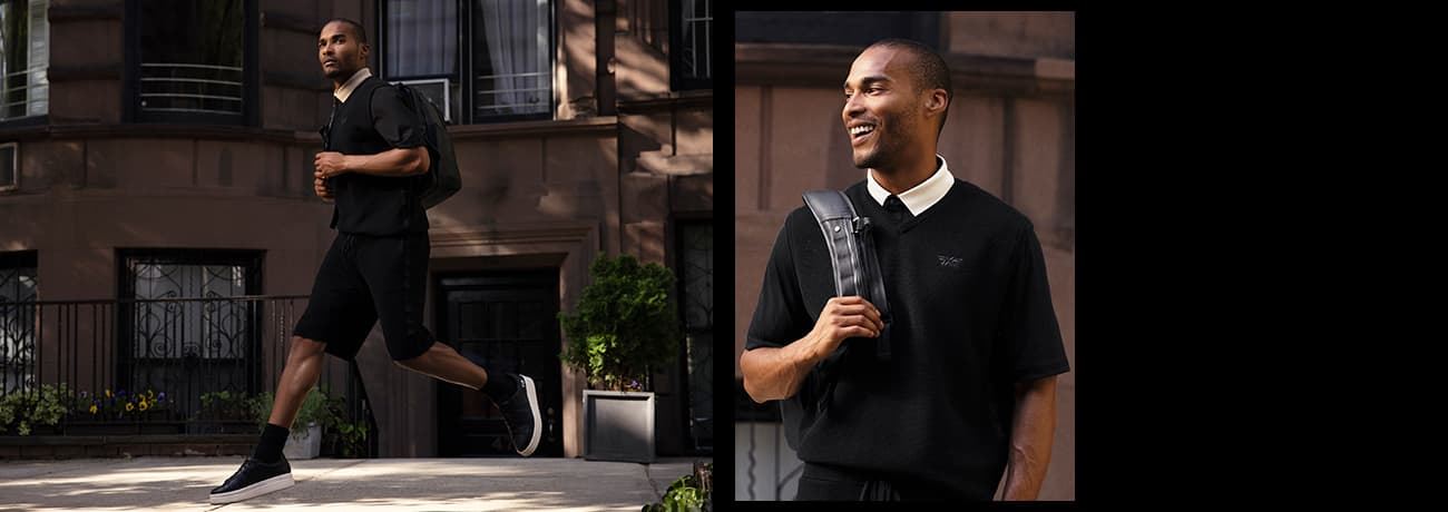 Mens Apparel Textured Contrast Collar Polo, Off-Duty Vest and Joggers | PXG