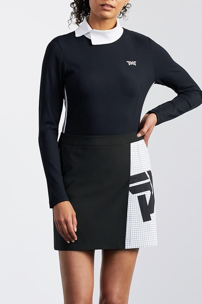 Big Logo Color Block Pleated Skirt Image 1