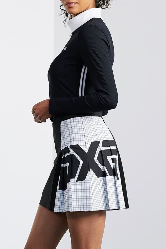 Big Logo Color Block Pleated Skirt Image 2