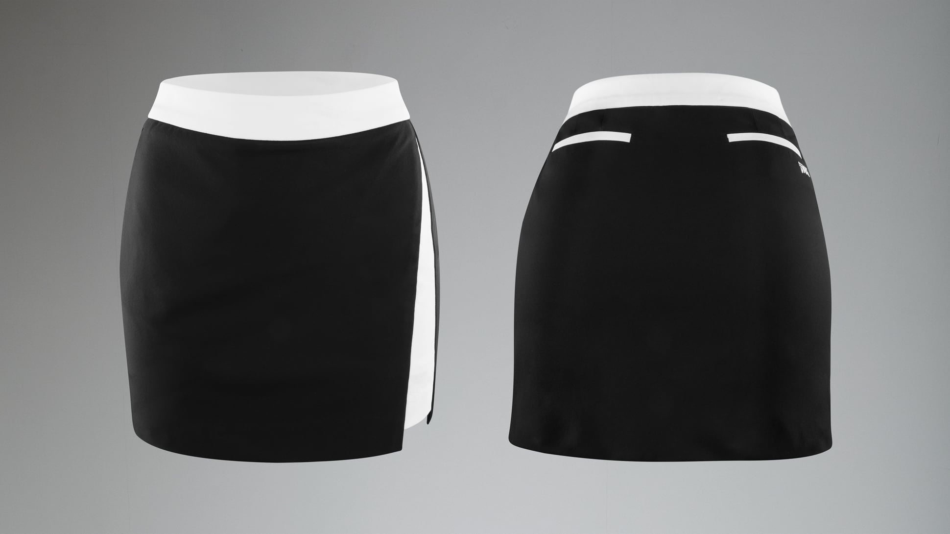 Two-Tone Slit Skirt Image 1