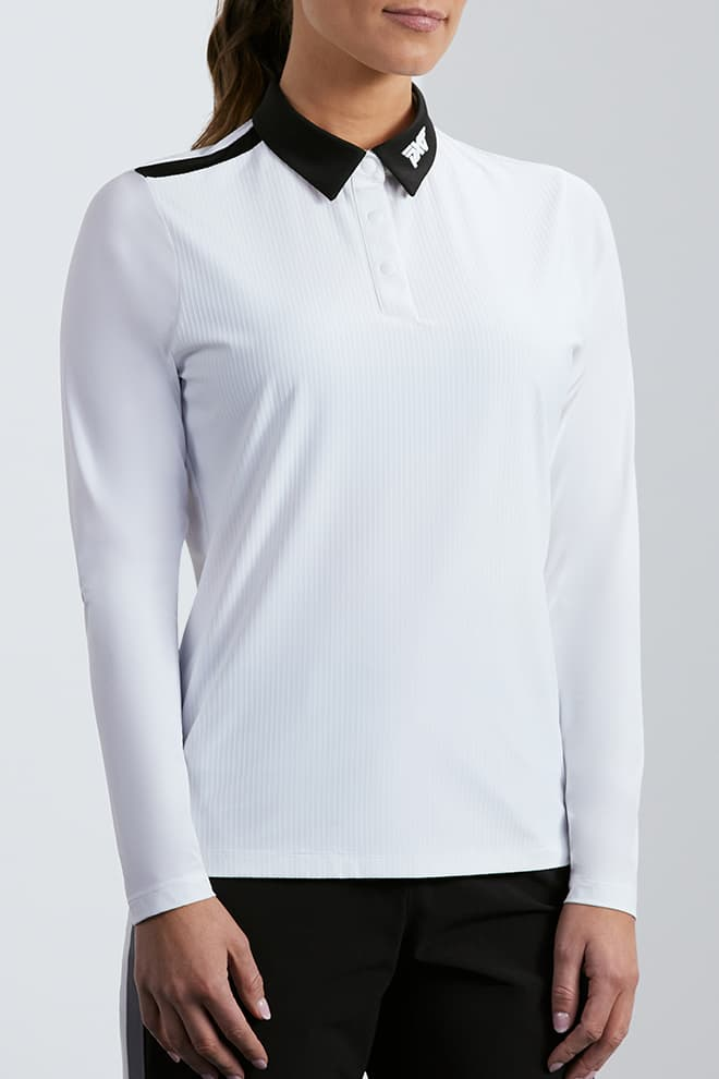 Taped Shoulder Long Sleeve Polo Image 2