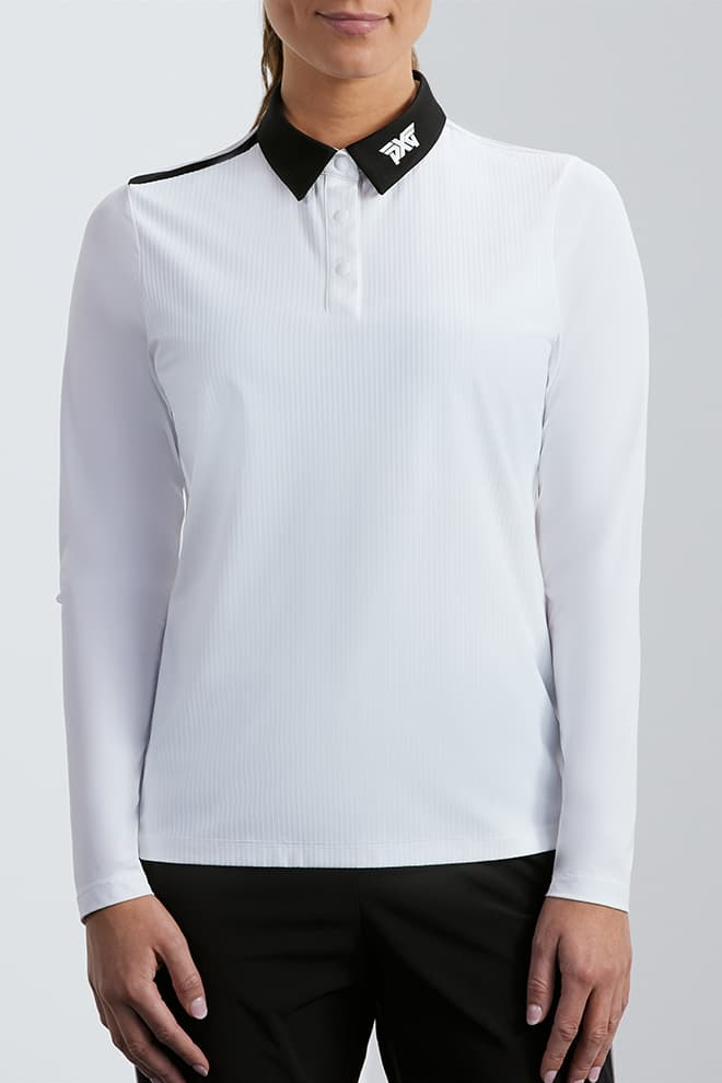 Taped Shoulder Long Sleeve Polo Image 1