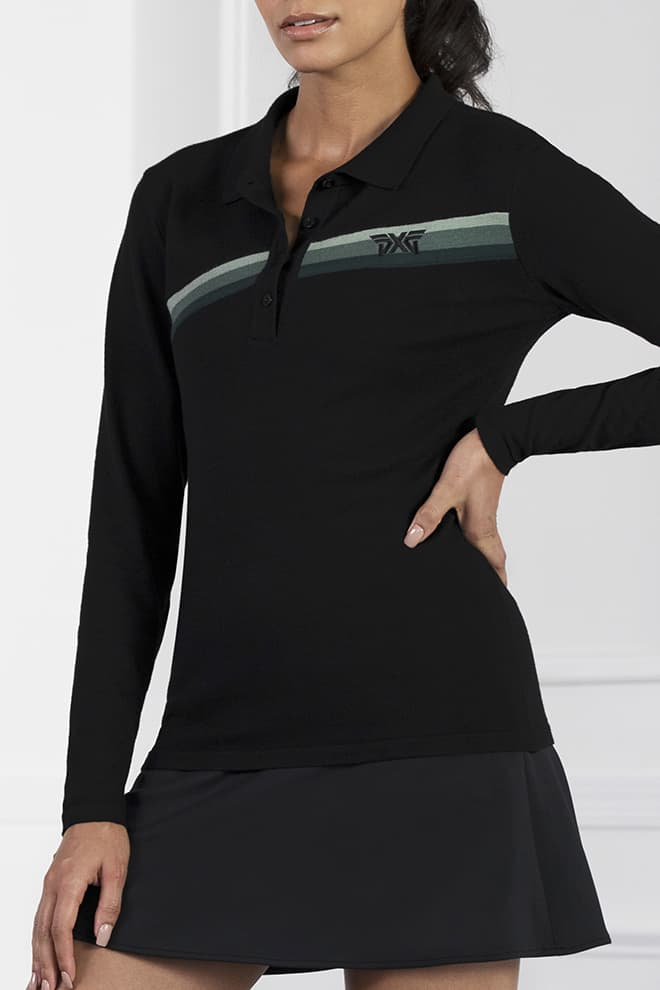 Three-Color Stripe Long Sleeve Sweater Image 2