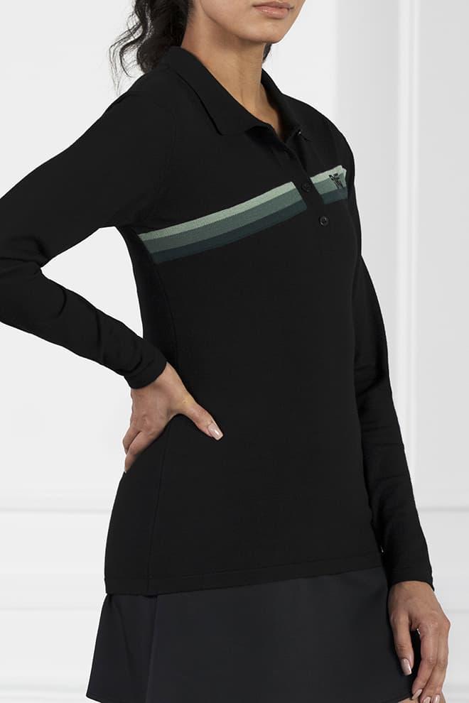 Three-Color Stripe Long Sleeve Sweater Image 3
