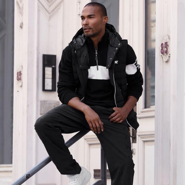 Mens Apparel White-Stripe Quarter-Zip Sweater, Detachable Hoodie Vest, Darkness Pants | PXG