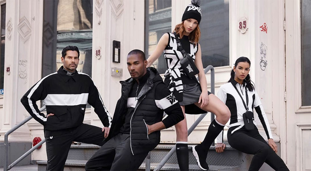 men and women wearing PXG apparel on steps with a railing