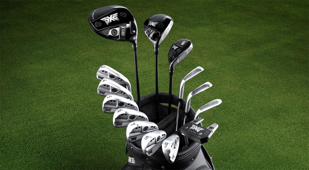 PXG golf clubs in a golf bag