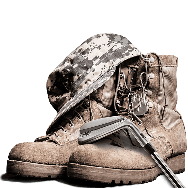 PXG Heroes - image of military boots, hat and an iron