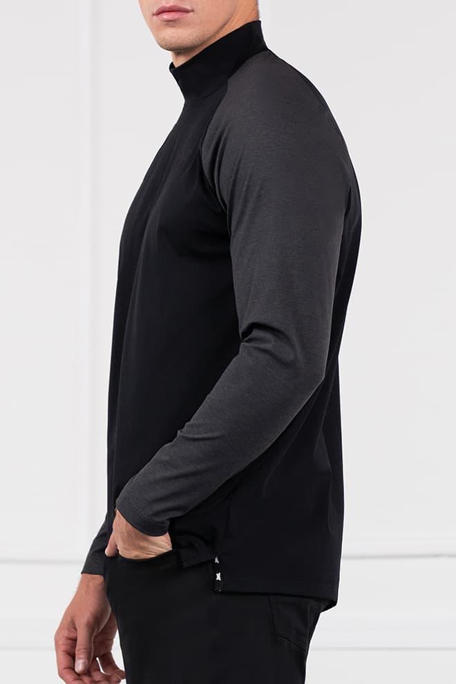Two-Tone Long Sleeve Mock Neck Image 2