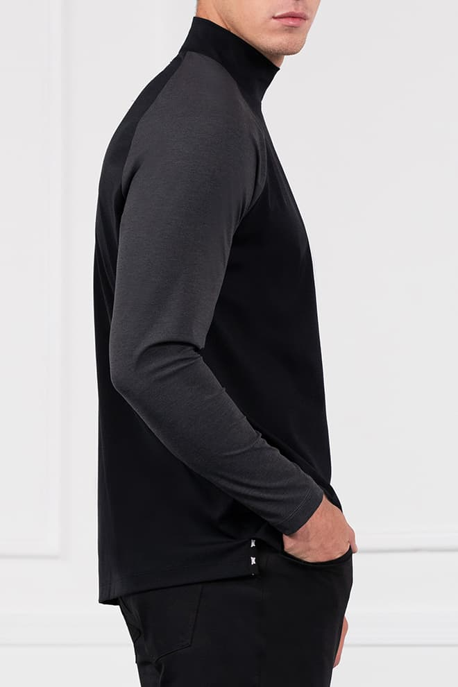 Two-Tone Long Sleeve Mock Neck Image 3