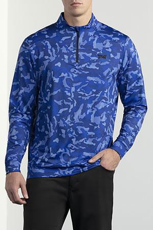 Model wearing men's blue camo essential pullover