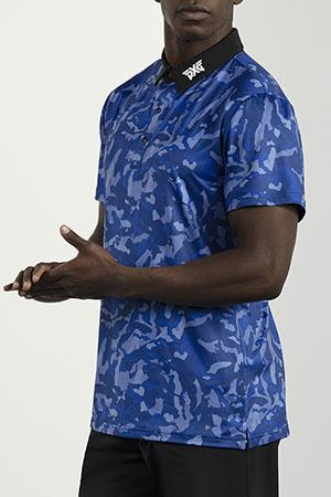 Model wearing men's blue camo polo