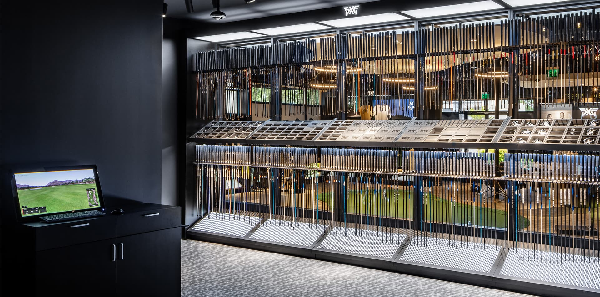 PXG Indoor Fitting Bay with Selection of Shafts.