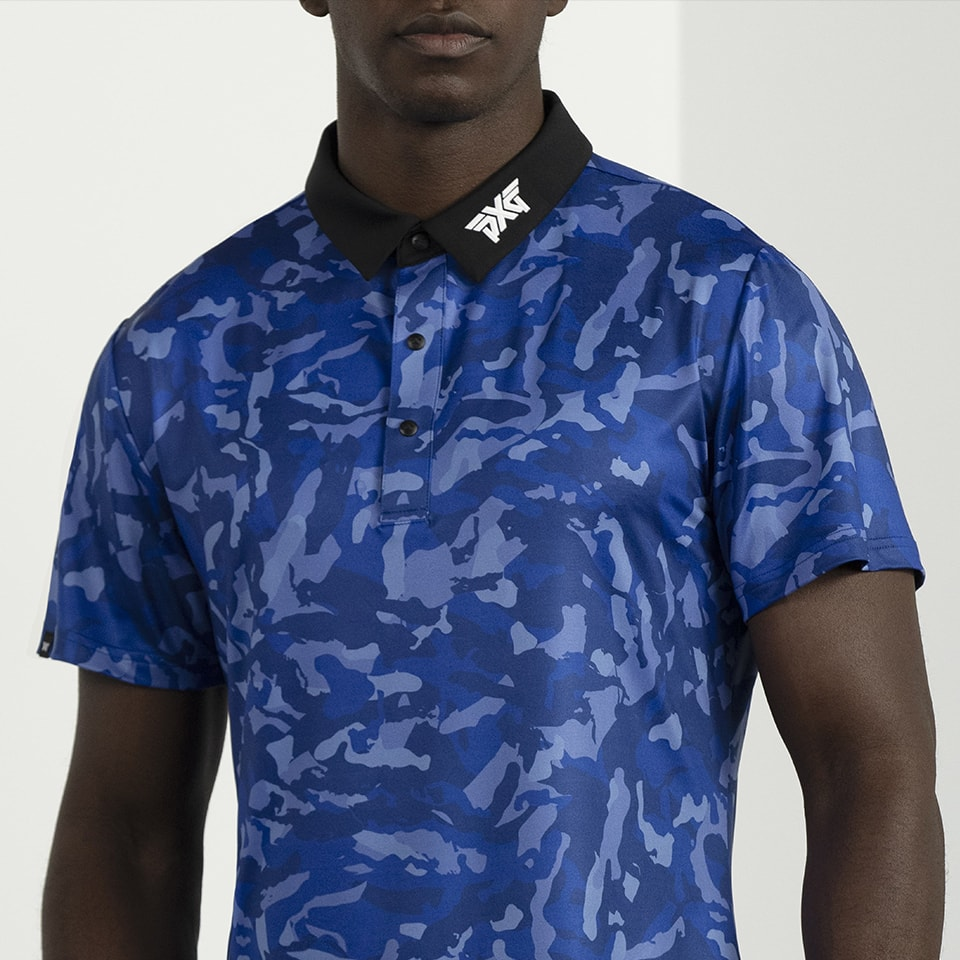 PXG Paratrooper Blue Fairway Camo Polo on a male model