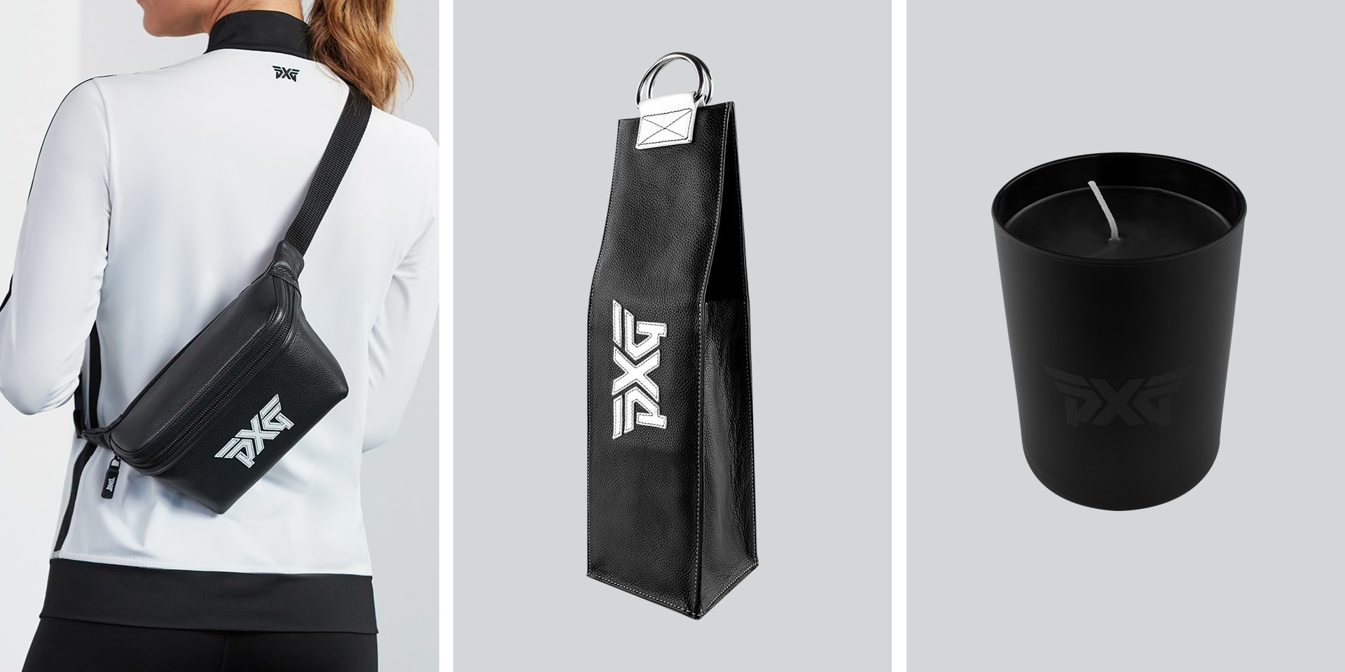 PXG Fanny pack worn by a female model, a PXG Wine Tote and PXG Candle.