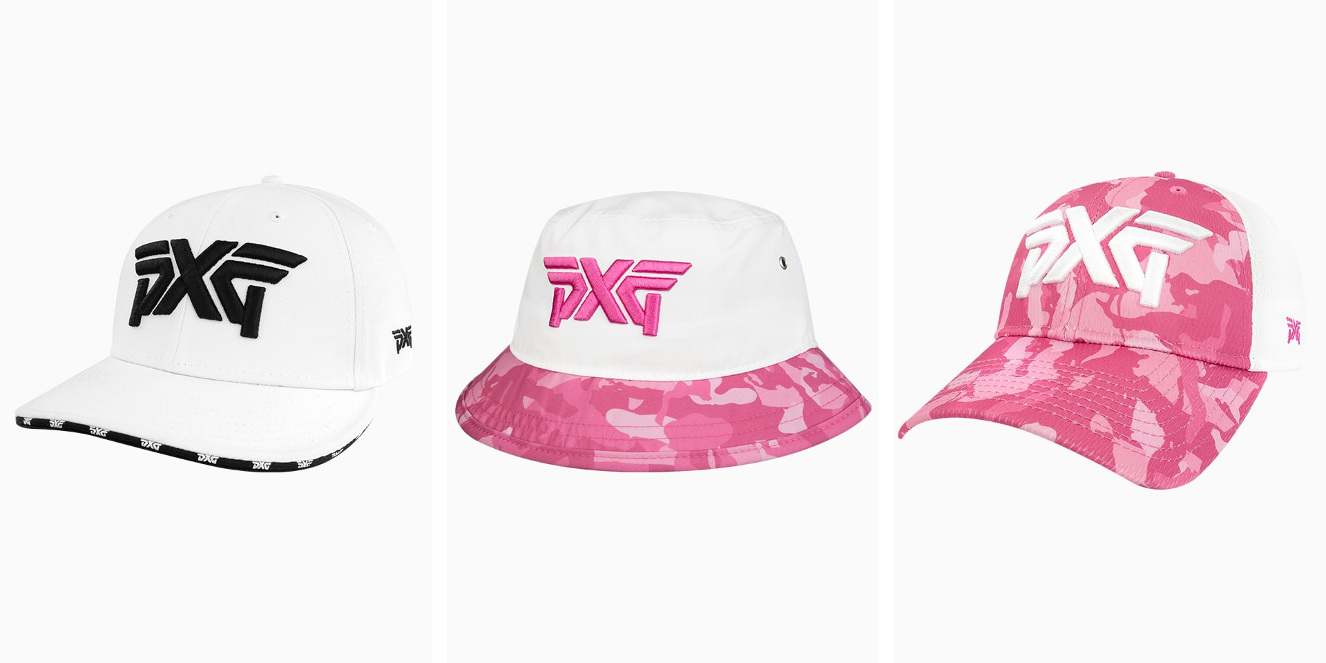 PXG Fairway Camo hats in pink and repeating logo 9 20 Cap
