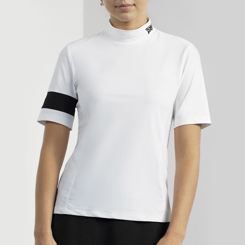 PXG White Banded Mock Neck Shirt on Female Model