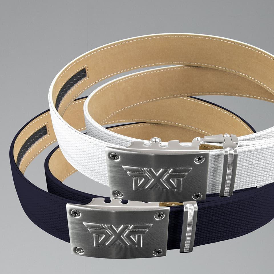 PXG Men's Ratchet Belt in Navy and White