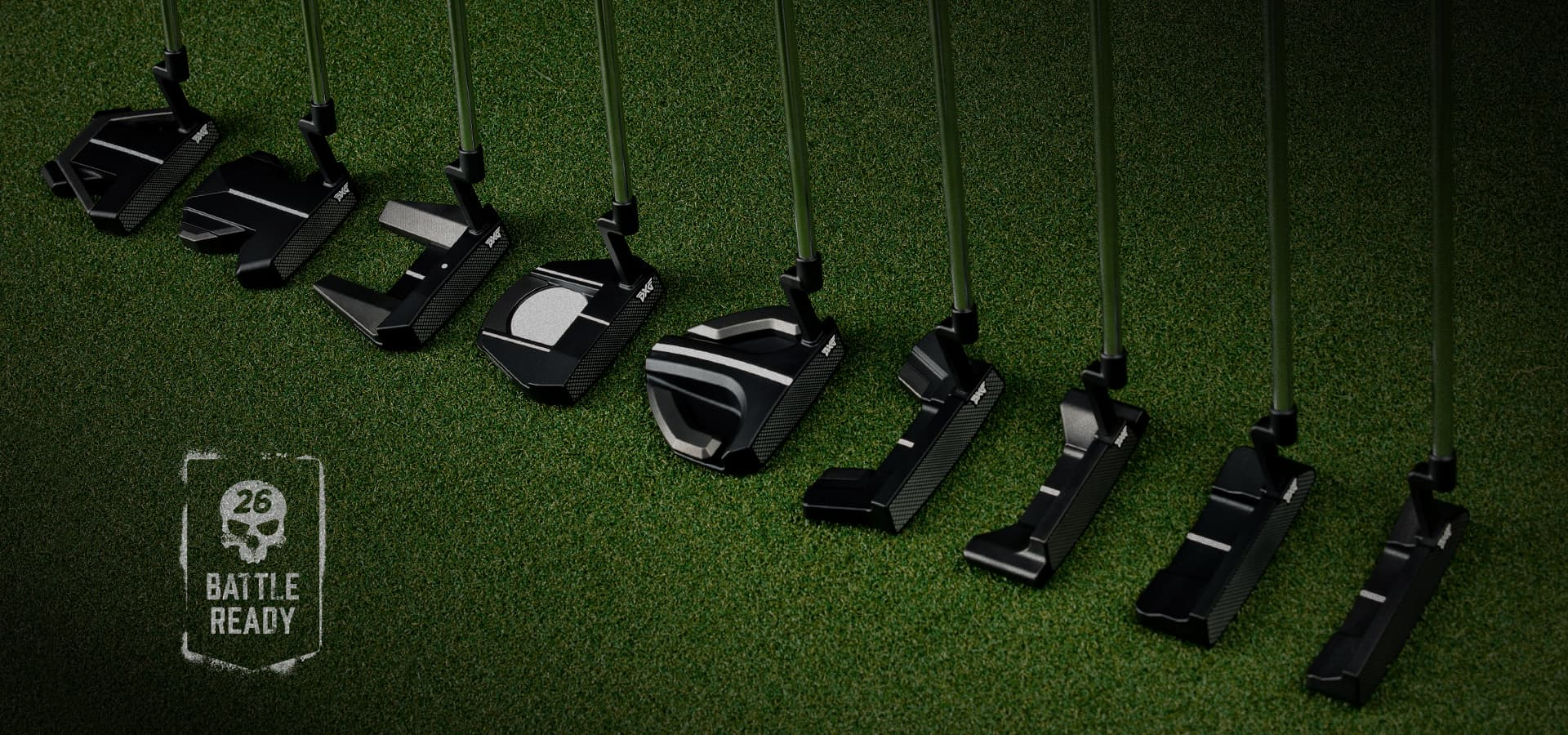 PXG Battle Ready Putter lineup on the putting green