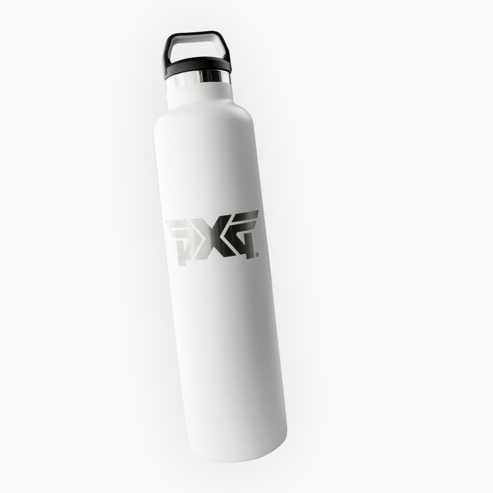A white PXG water bottle