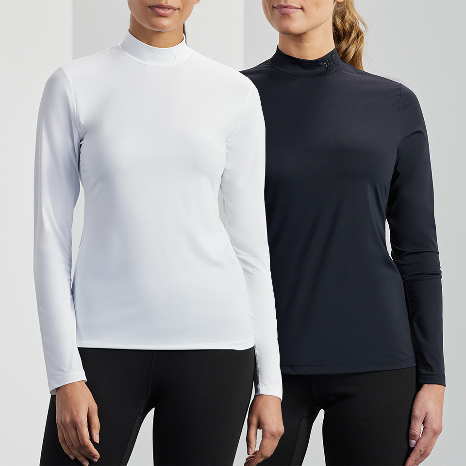 Models wearing a black and a white PXG base layer for women