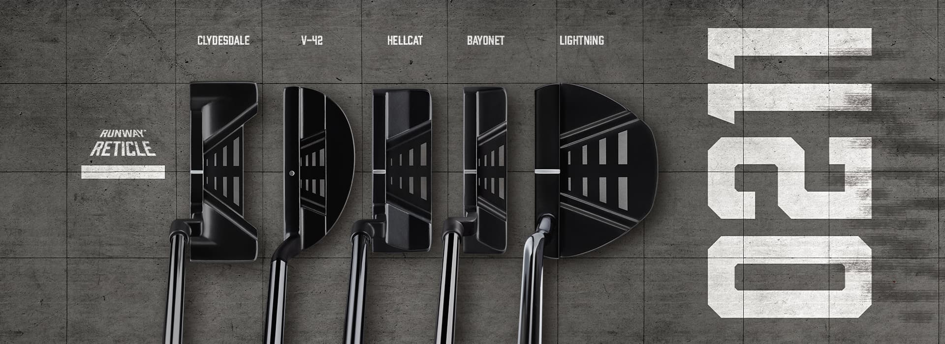 The POV view of 5 0211 PXG putters on an airport runway.