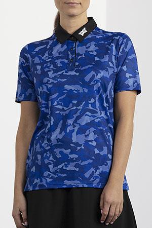 Model wearing women's blue camo polo