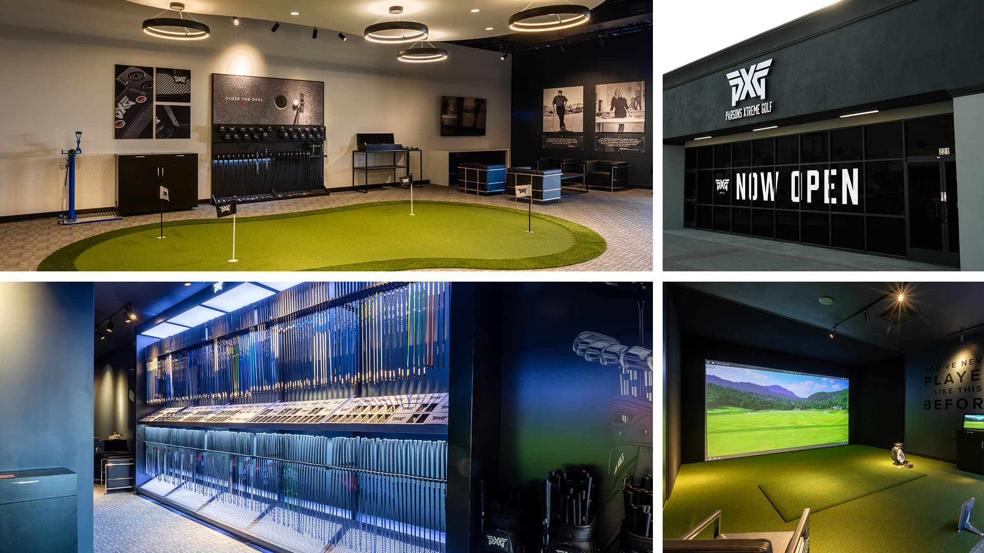 Iside the PXG Mesa Arizona Store. Putting greens, fitting bay and wall of shafts.